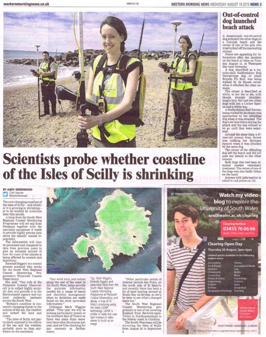 PR photograph of Coastal Scientists makes p.3 of the Western Morning News